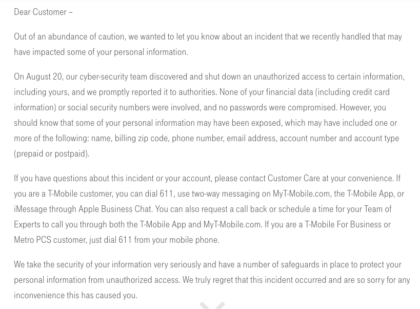T-Mobile data breach press release