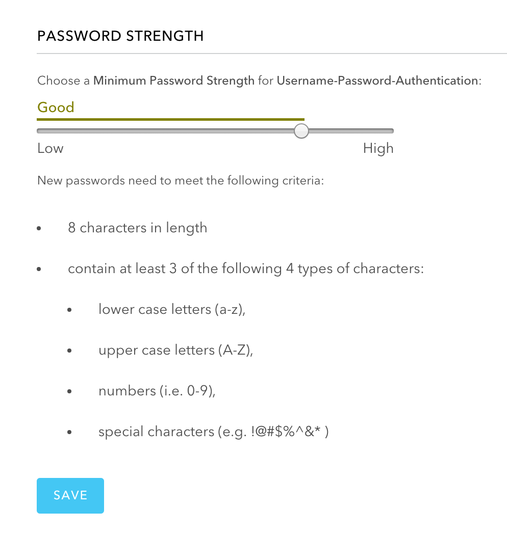Setting the required password Strenght in Auth0