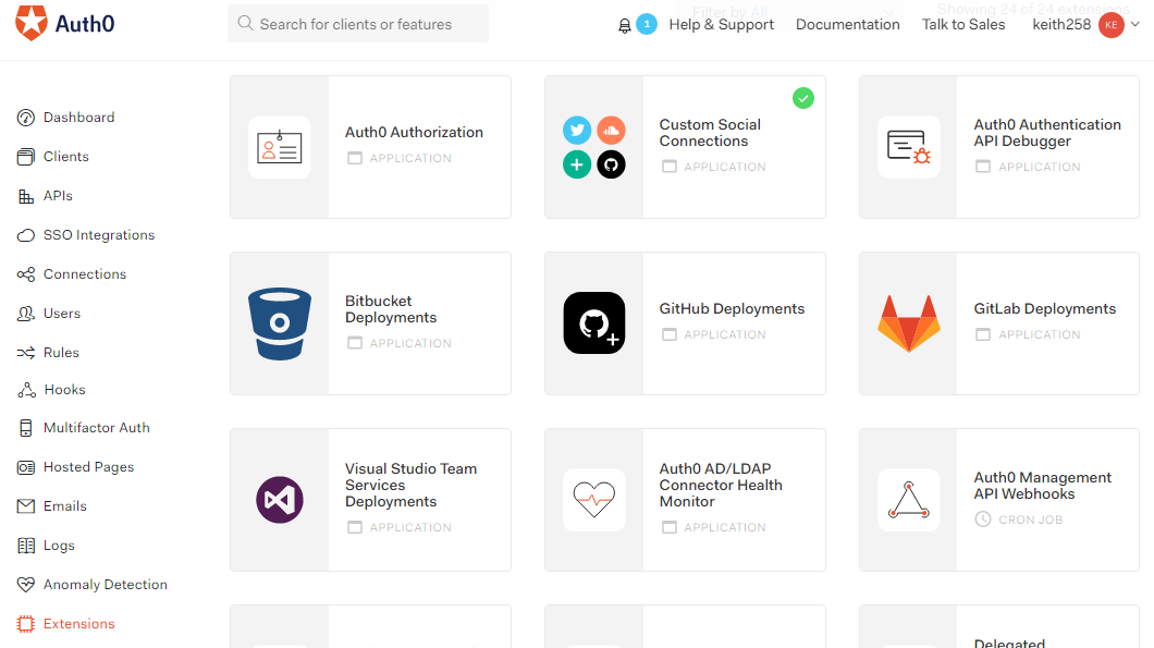 Auth0 extensions