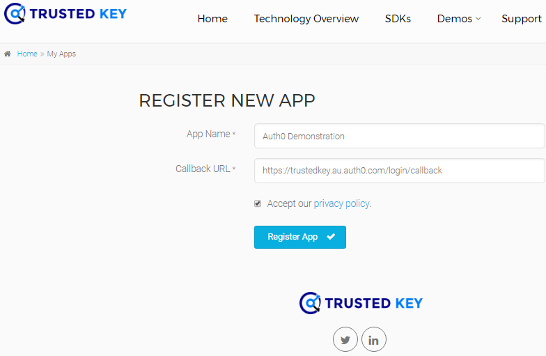 Register new trusted key app