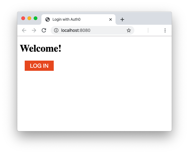 Web page with the Auth0 login button
