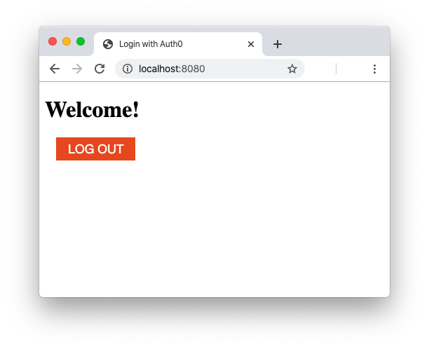 Web page with the Auth0 logout button