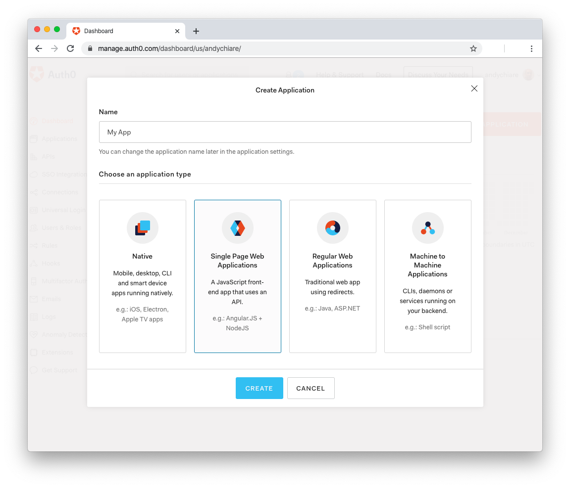 New Auth0 Application