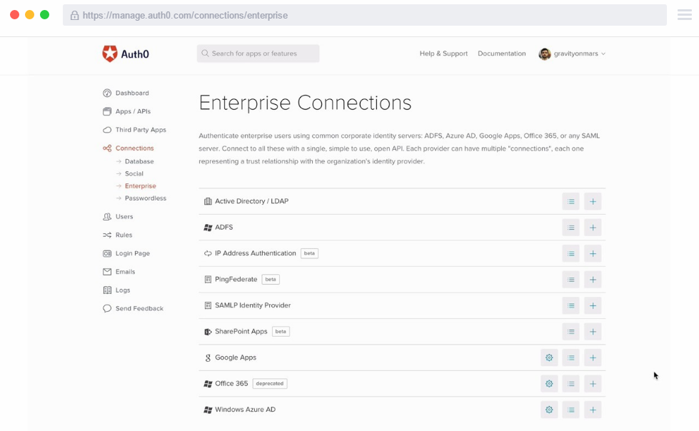 Auth0 enterprise connections dashboard