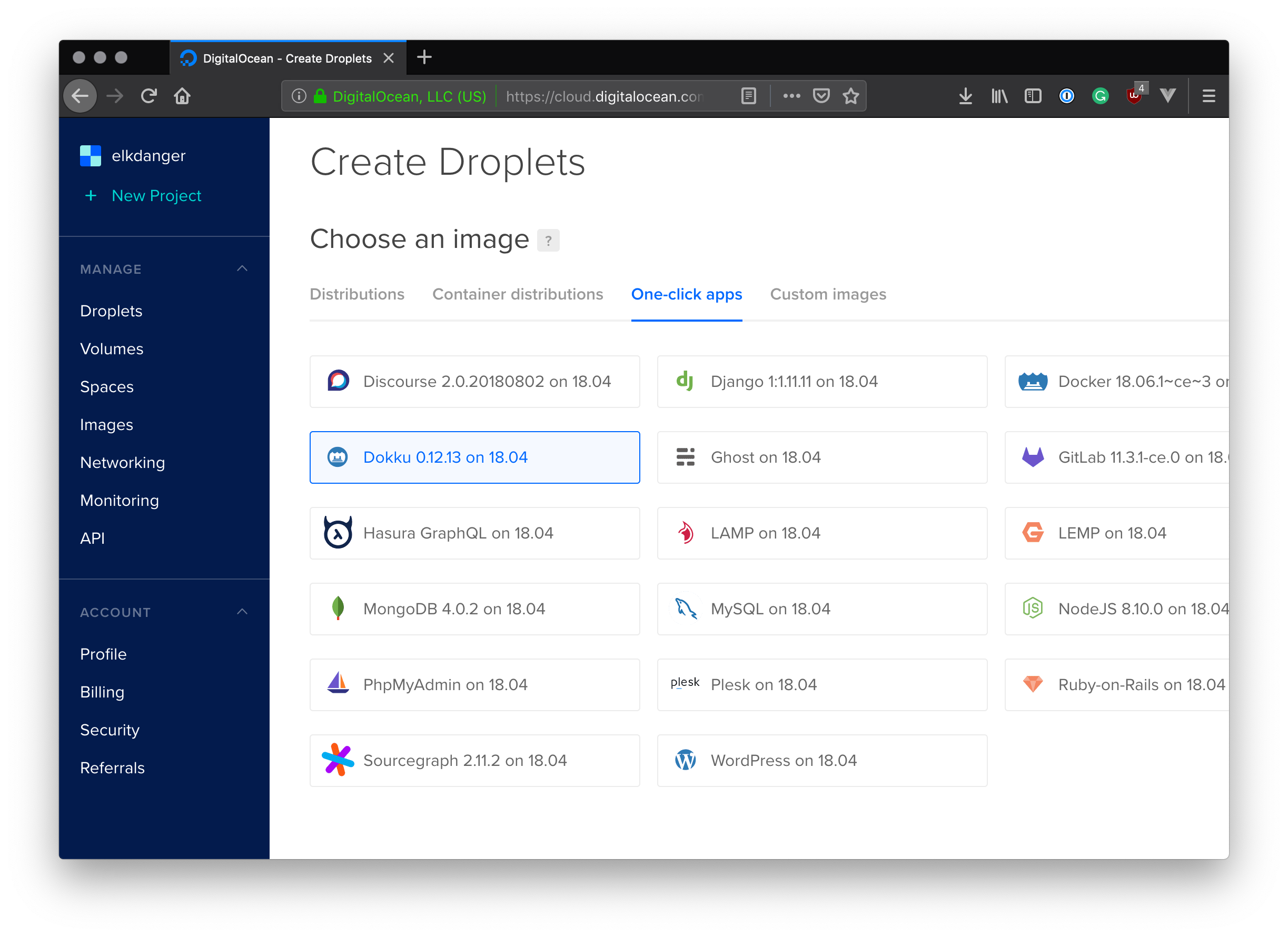 DigitalOcean One-click Apps
