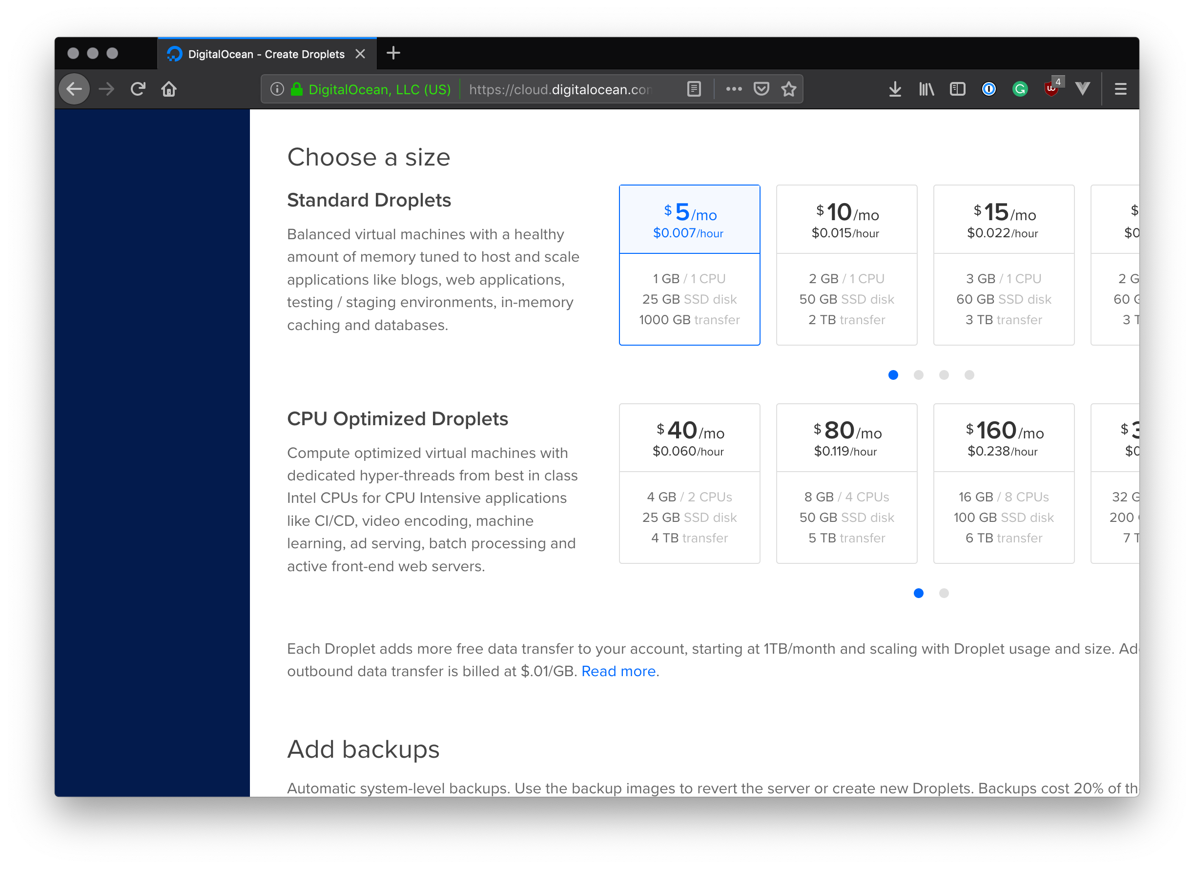 DigitalOcean droplet size