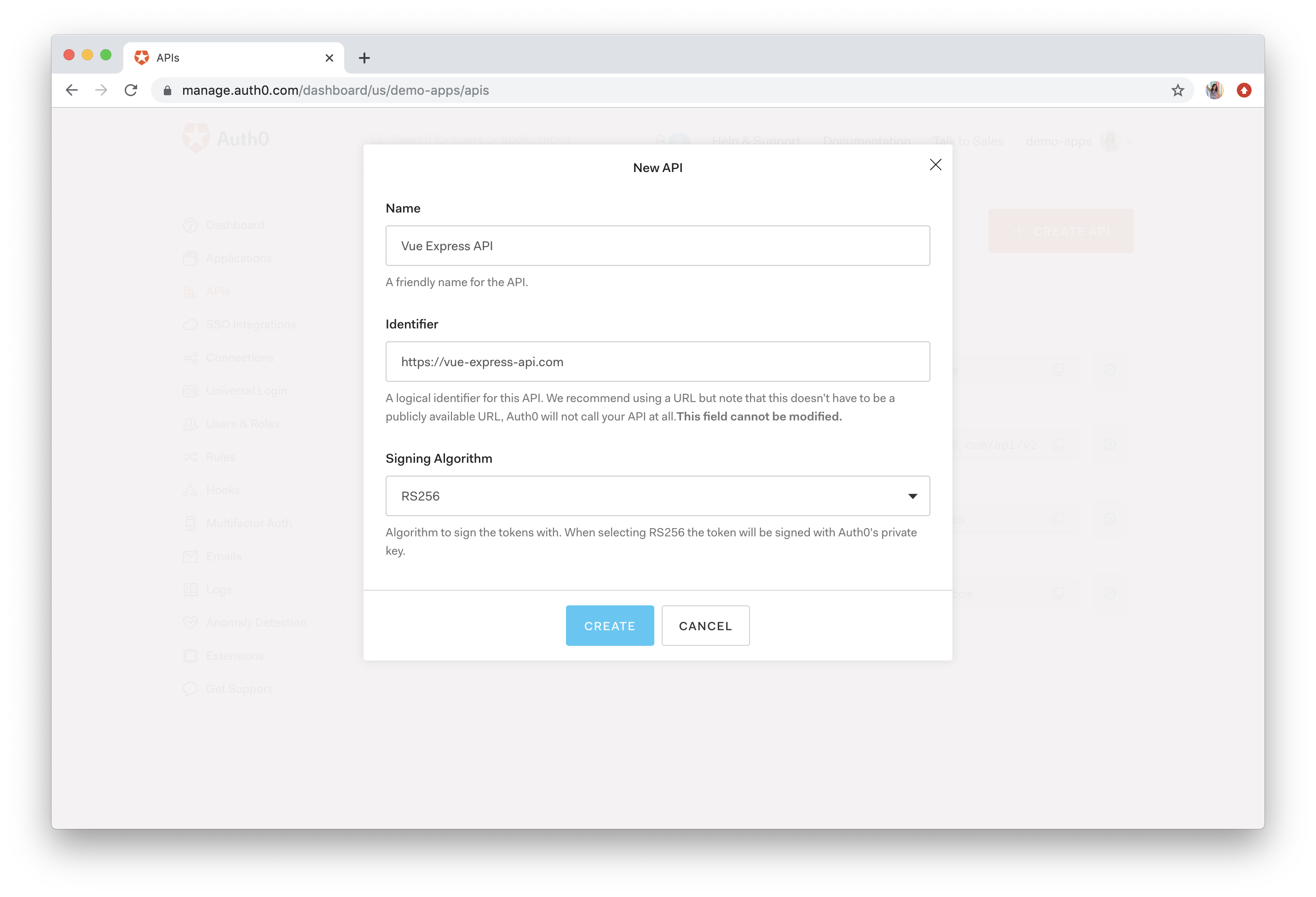 Auth0 dashboard API creation
