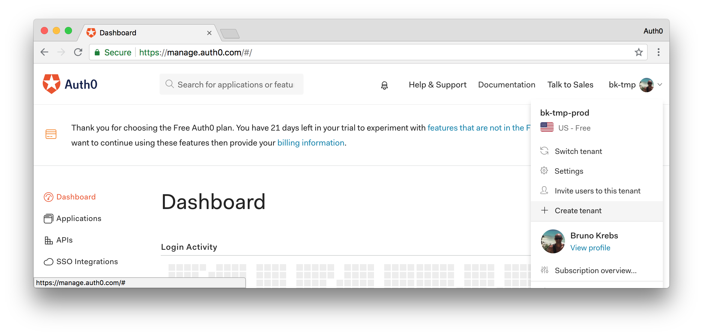 Creating a new Auth0 tenant