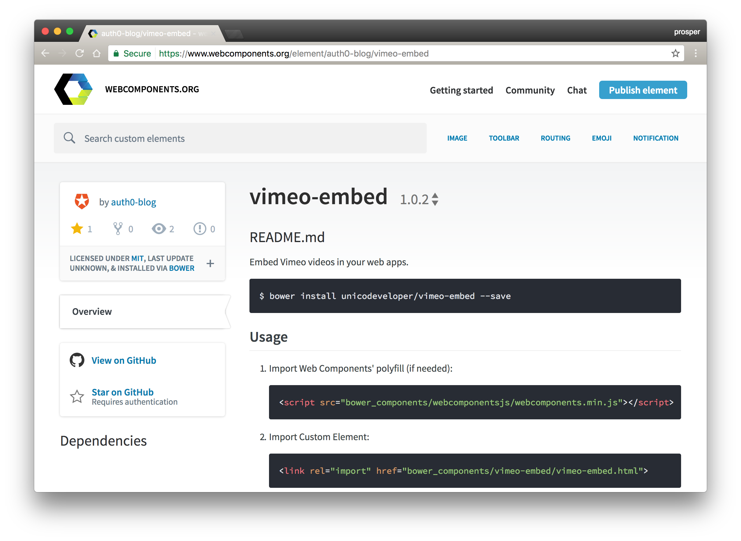 Visible in the component registry