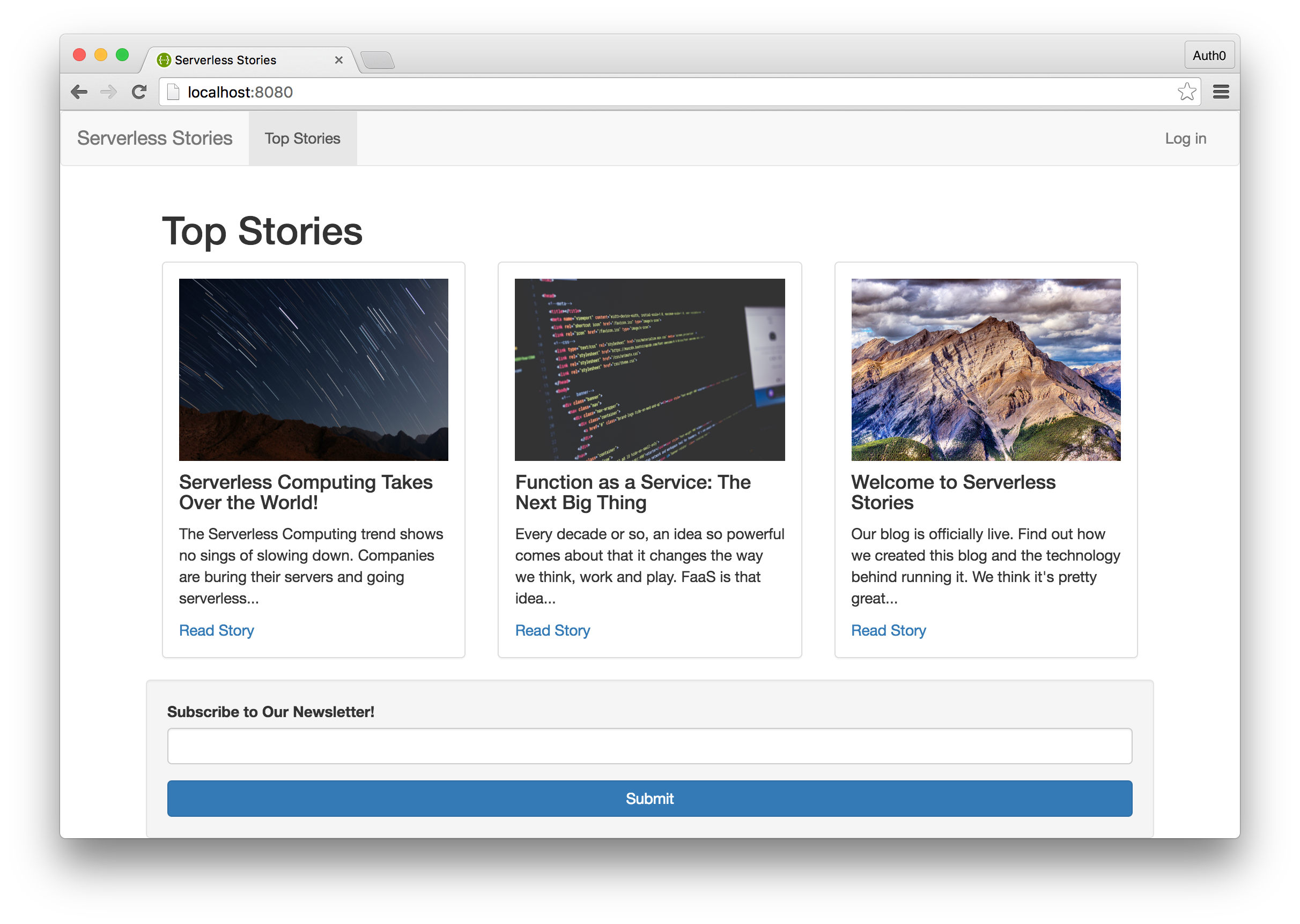 Serverless Stories Homepage