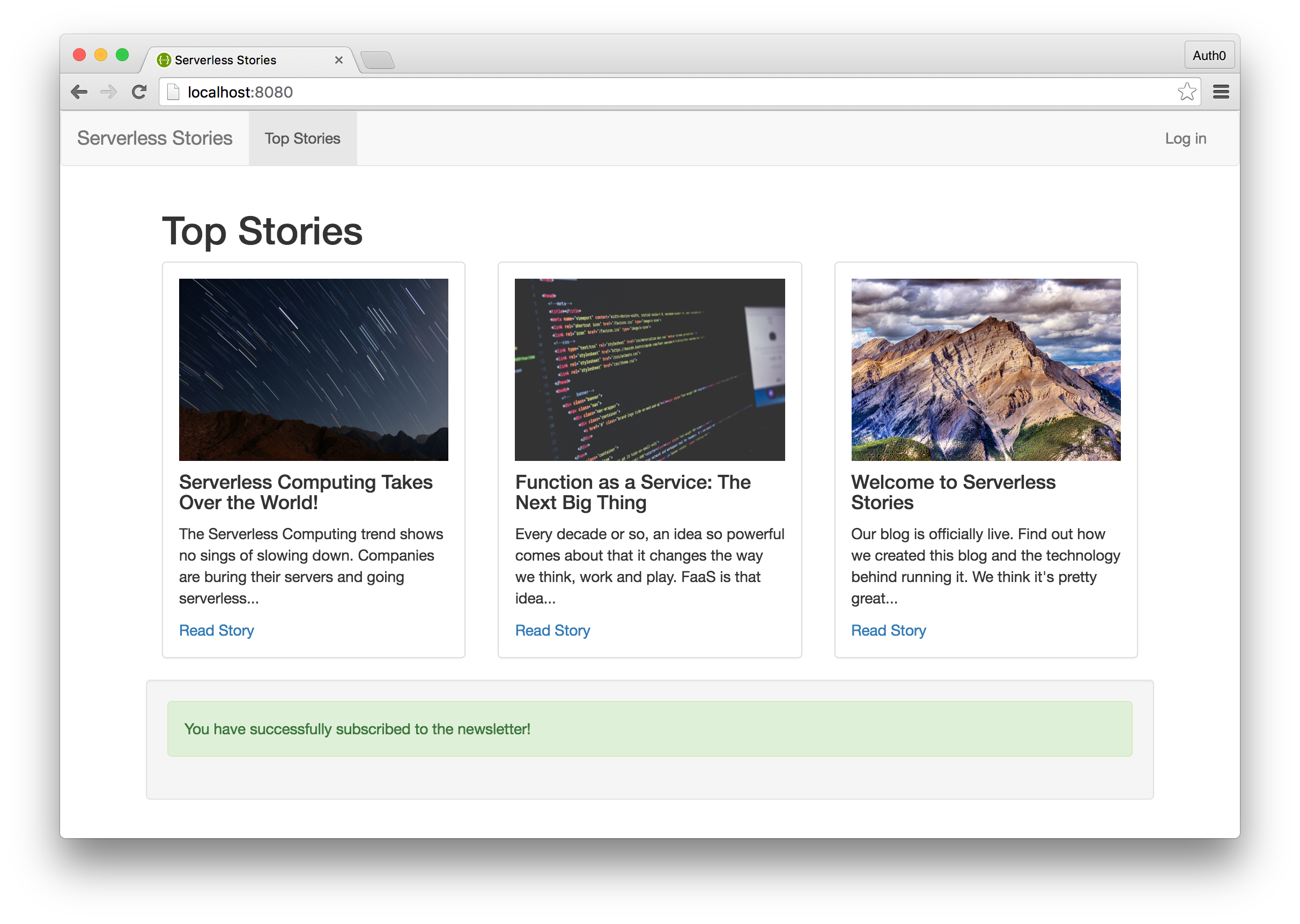 Serverless Stories Newsletter Signup