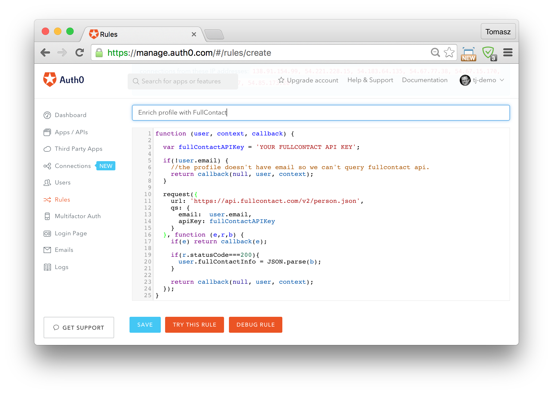 Extending Auth0 with custom code using webtasks