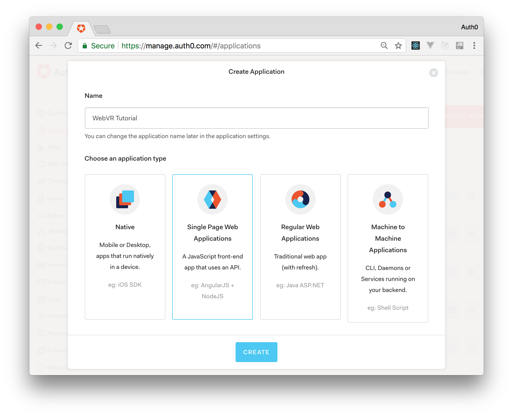 Creating the Auth0 Application for your WebVR app.