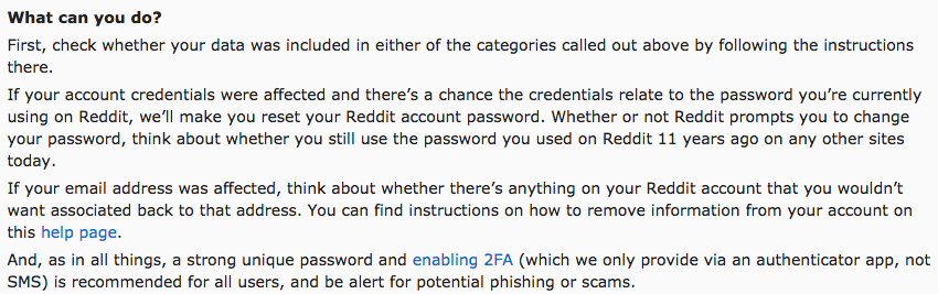 Reddit data breach mitigation steps notice
