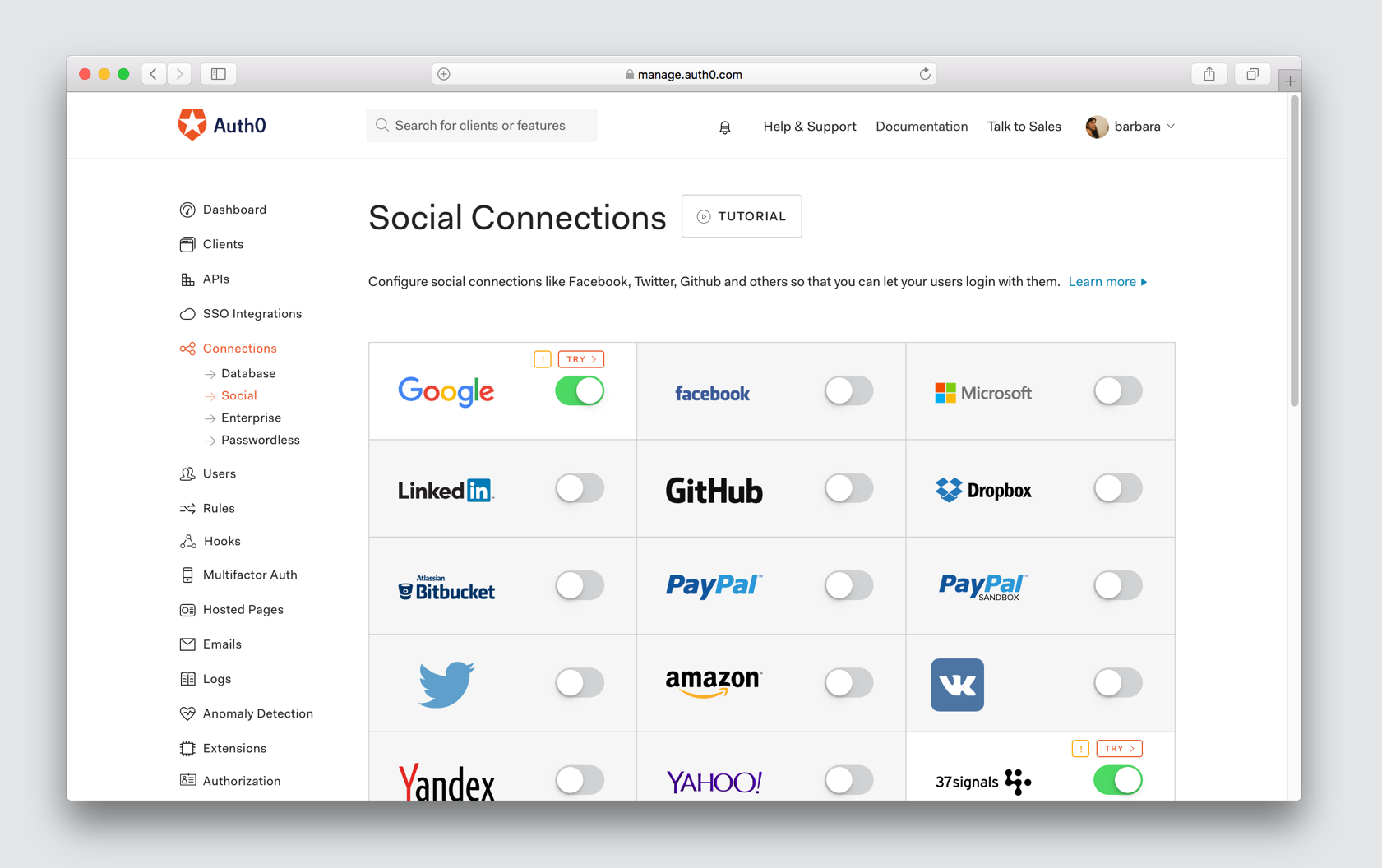 Auth0 Social Connections dashboard