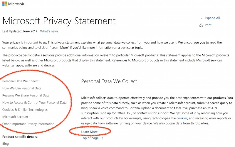Microsoft privacy policy sample