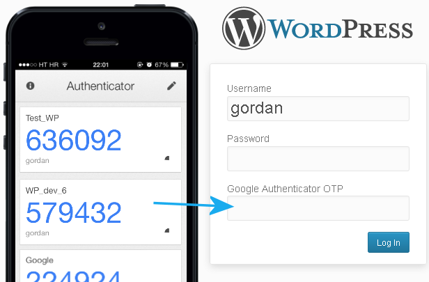 Google Authenticator 2FA on WordPress login