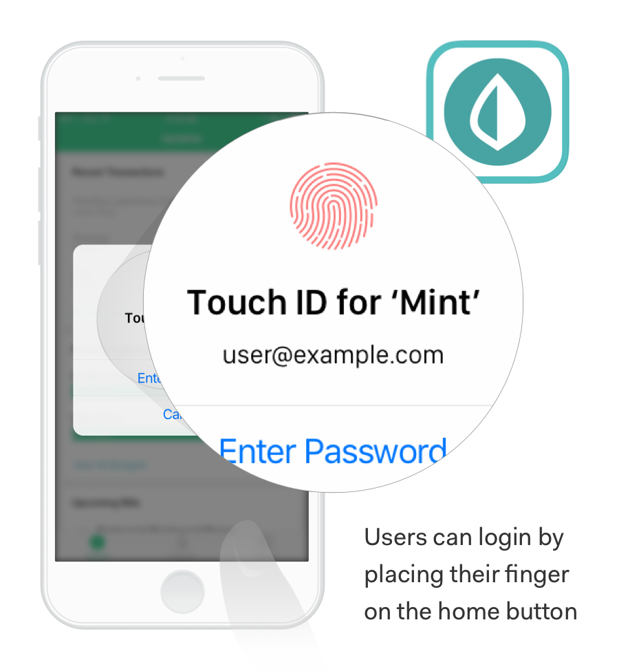 Multi-factor authentication example diagram with TouchID
