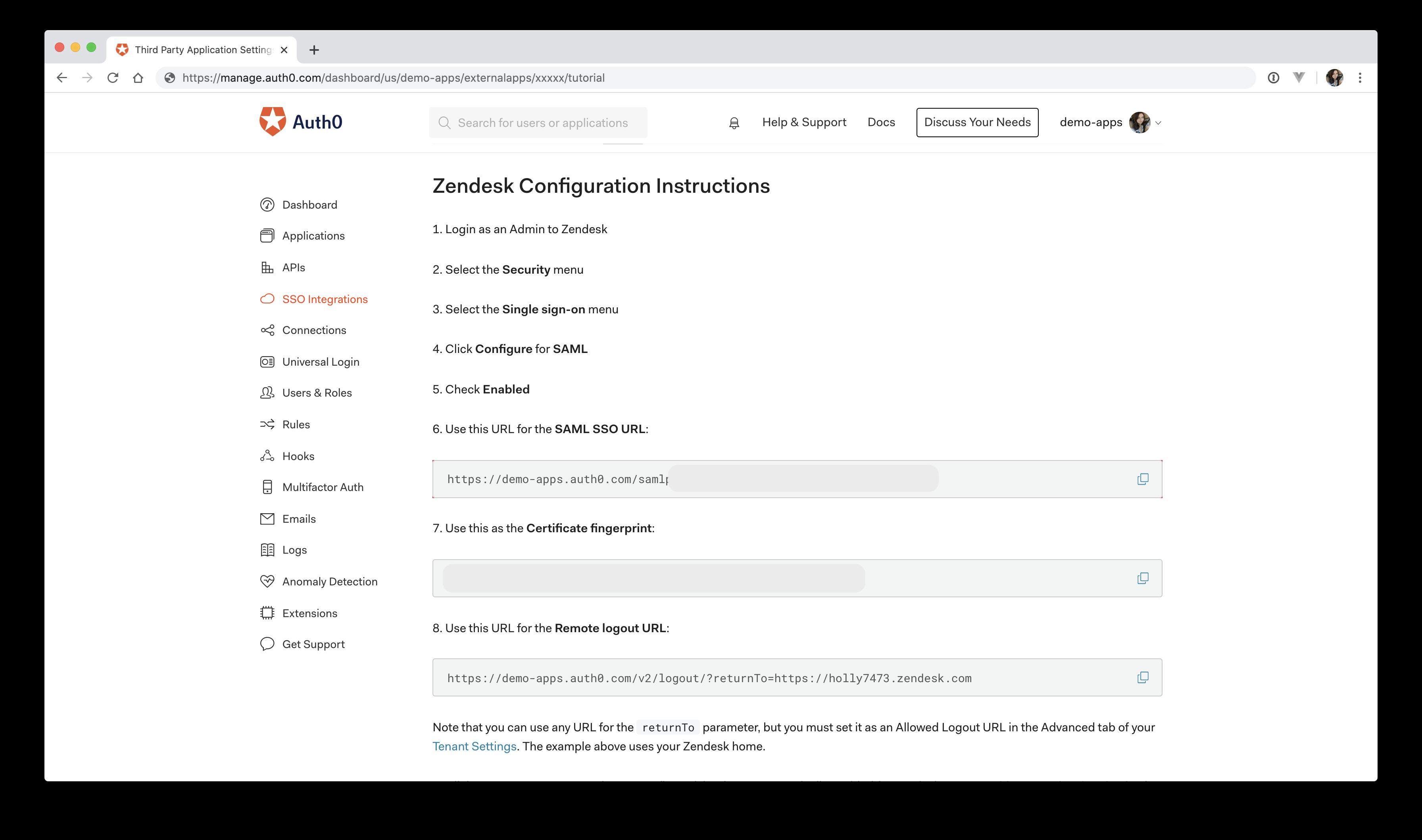 Auth0 Zendesk tutorial setup