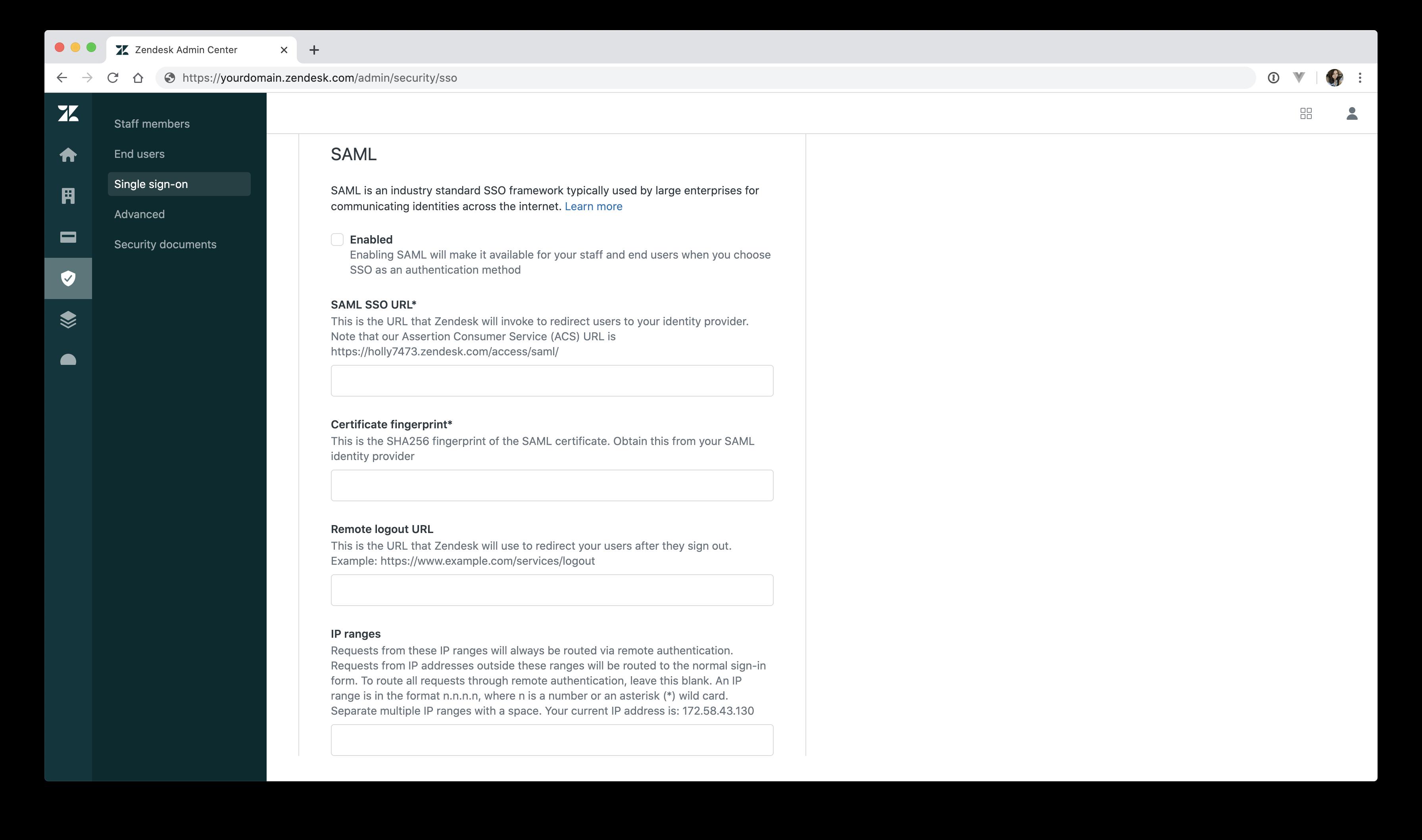 Zendesk SAML setup