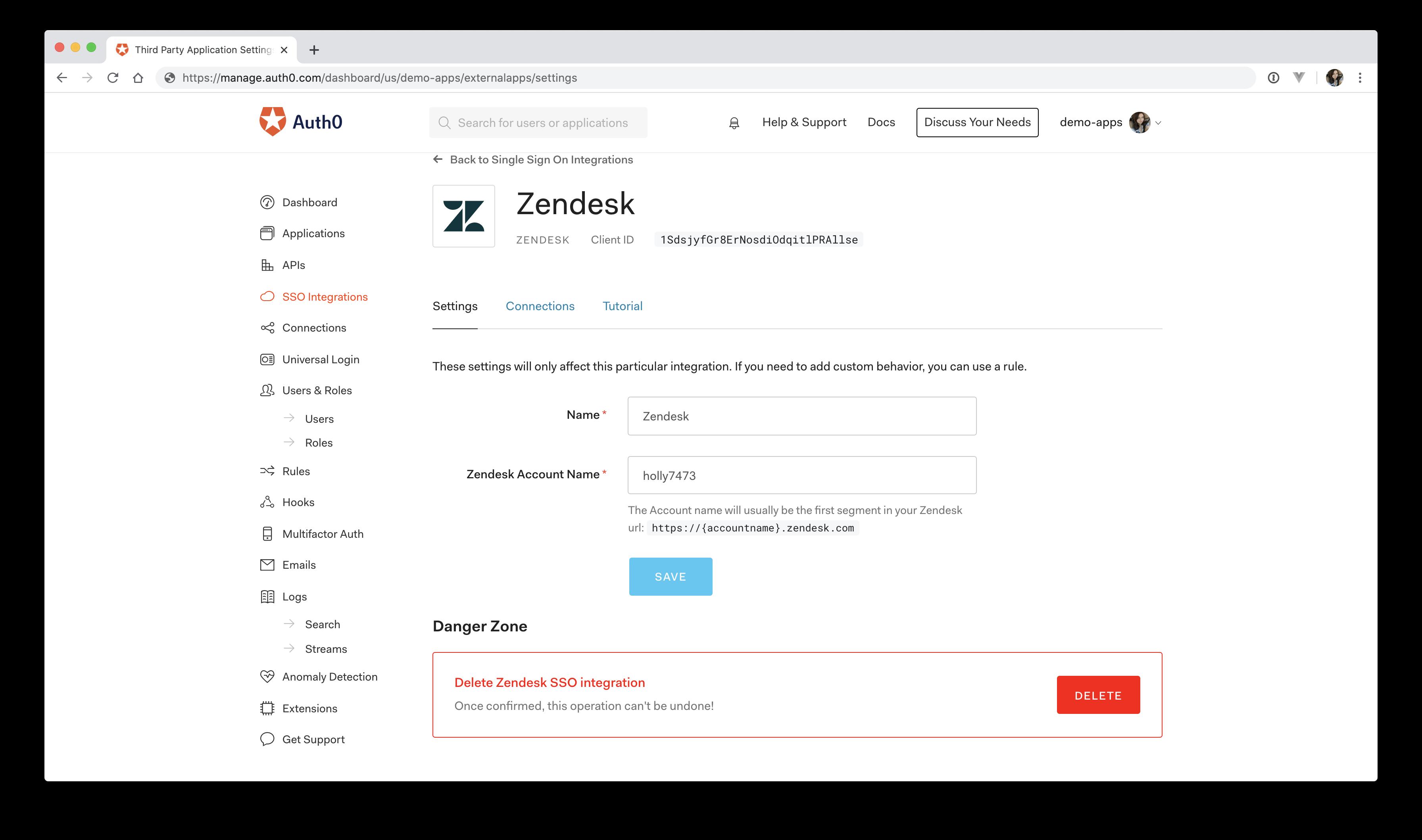 Zendesk Auth0 service provider setup