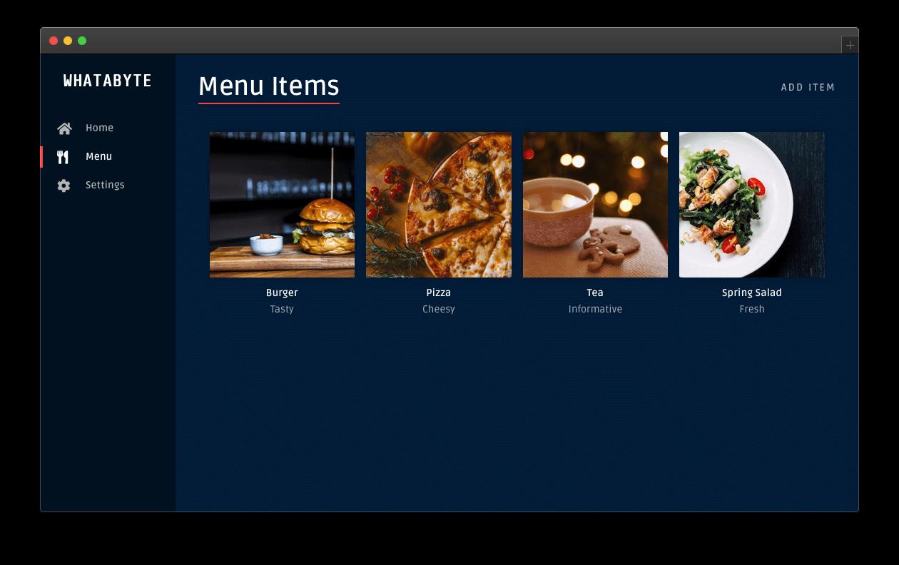 Menu page showing new item