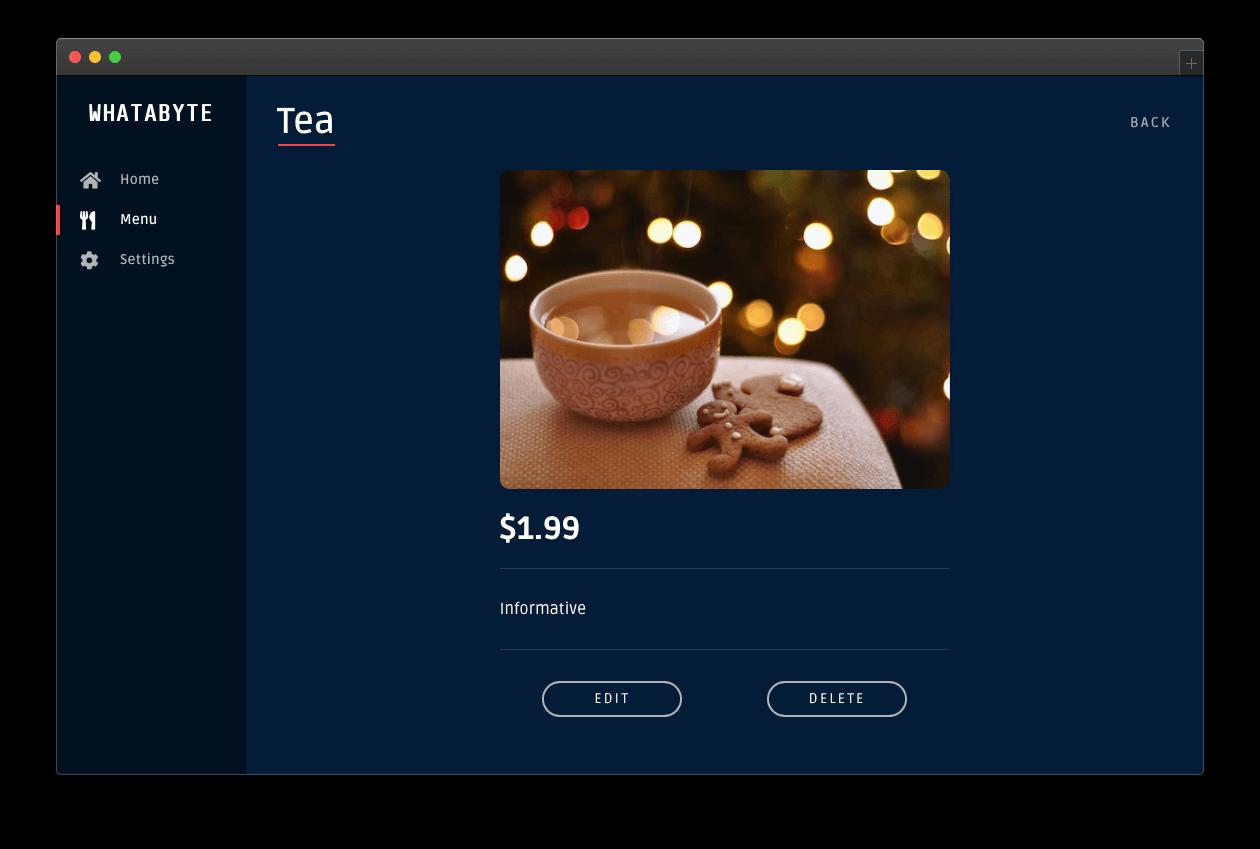 Tea menu item page