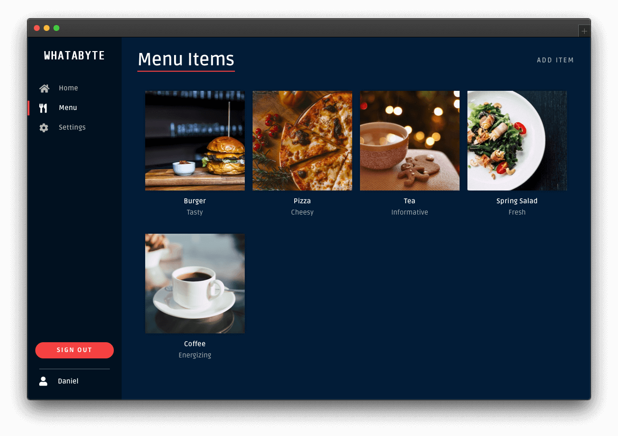 Menu page showing a newly added menu item, coffee