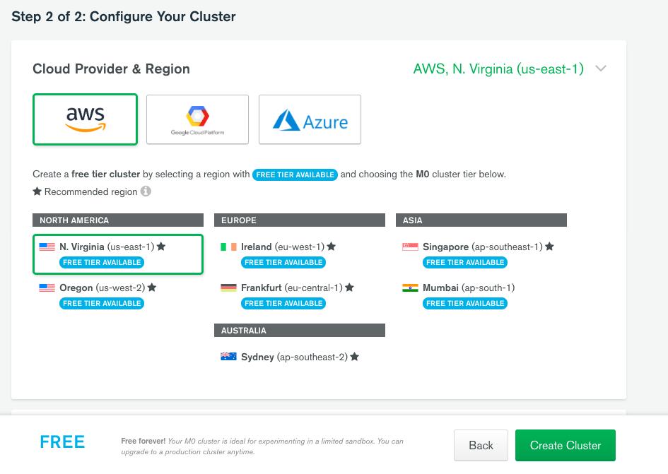 MongoDB Atlas configure cluster