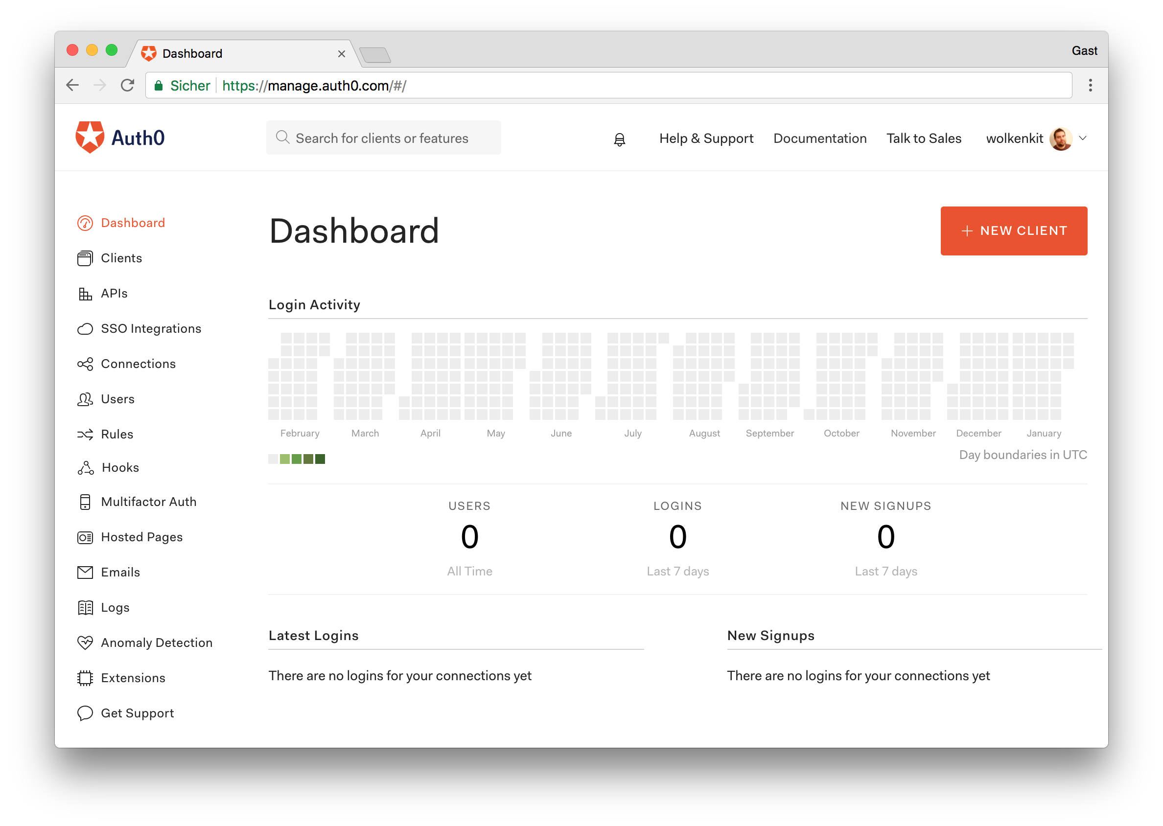 Use the Auth0 dashboard to create a new application