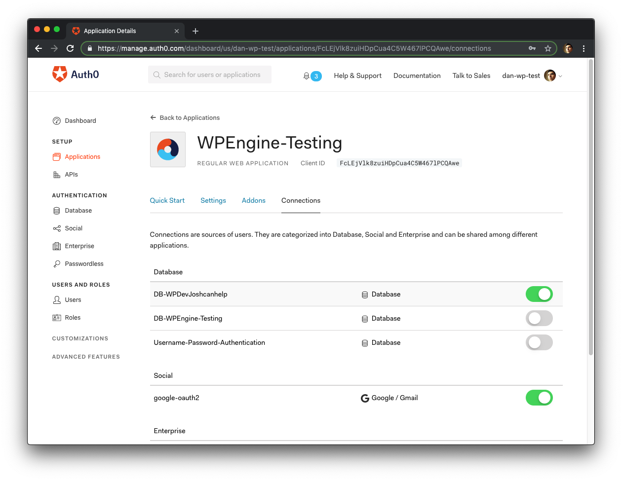 Auth0 applications Connection settings