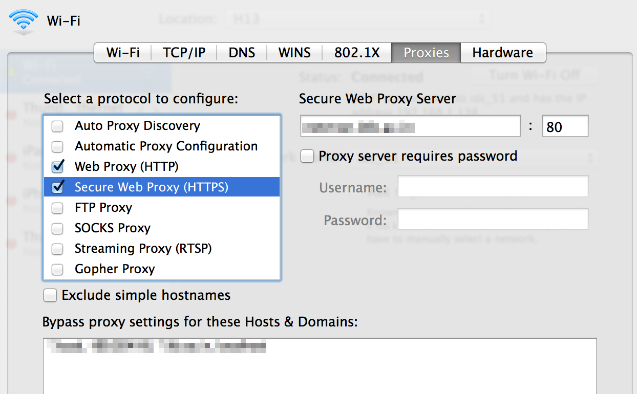 macOS proxy settings