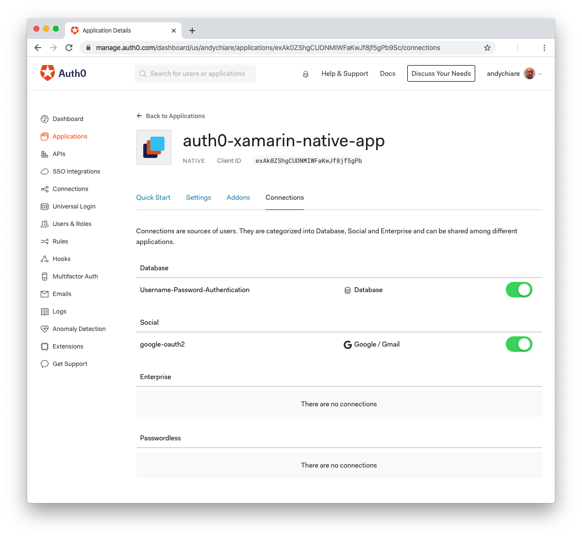 Enable Google login in Auth0 dashboard