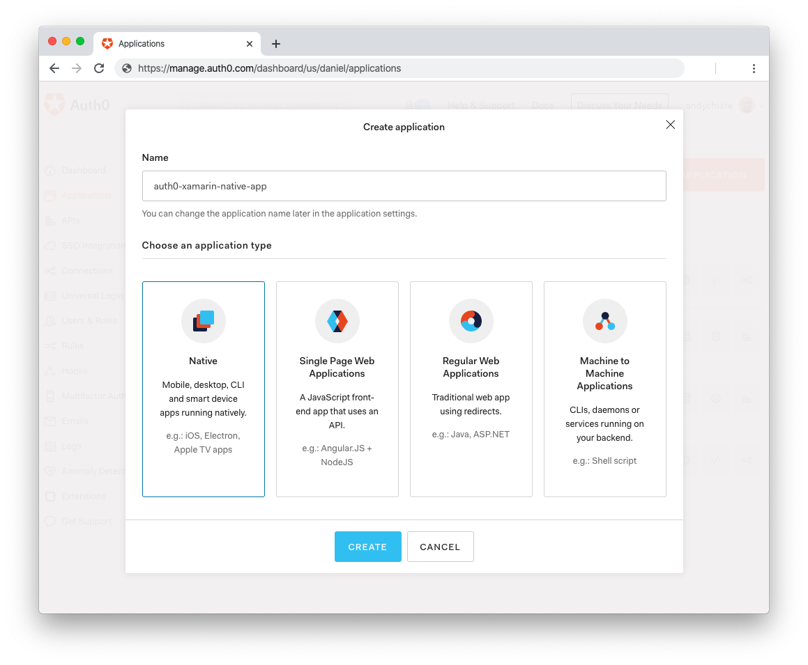 Register new native application in Auth0 dashboard