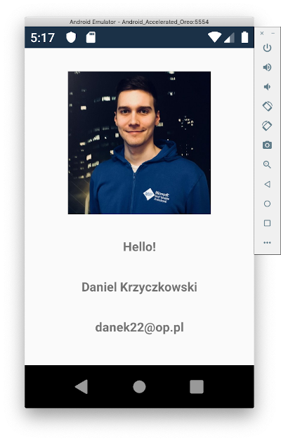 User profile screen on Android