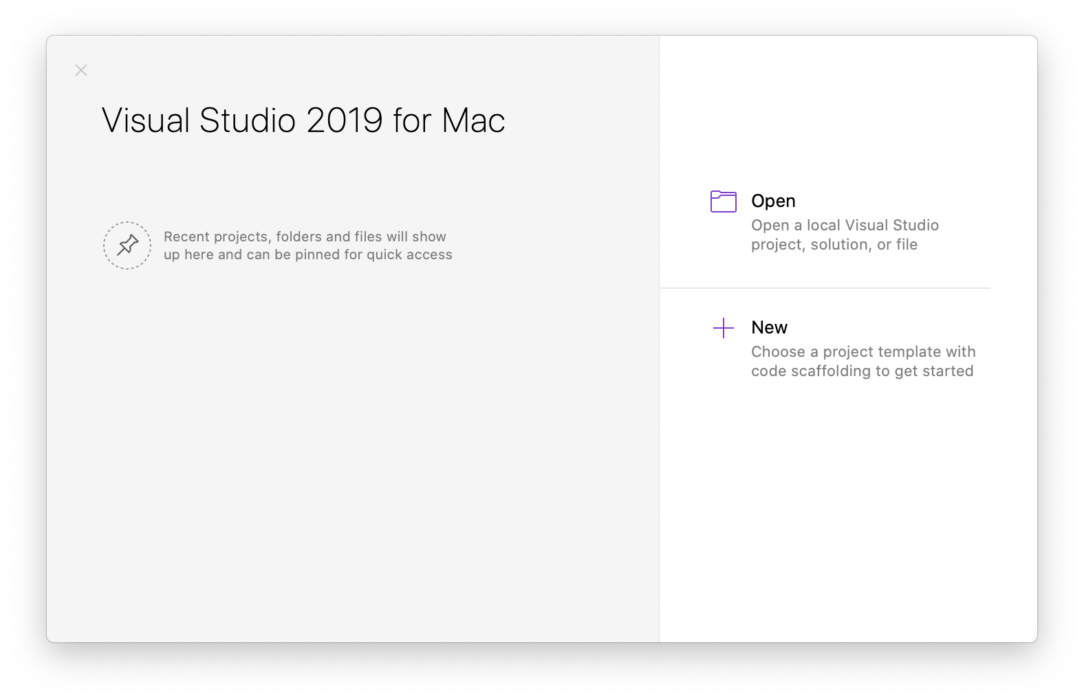 Visual Studio starting page