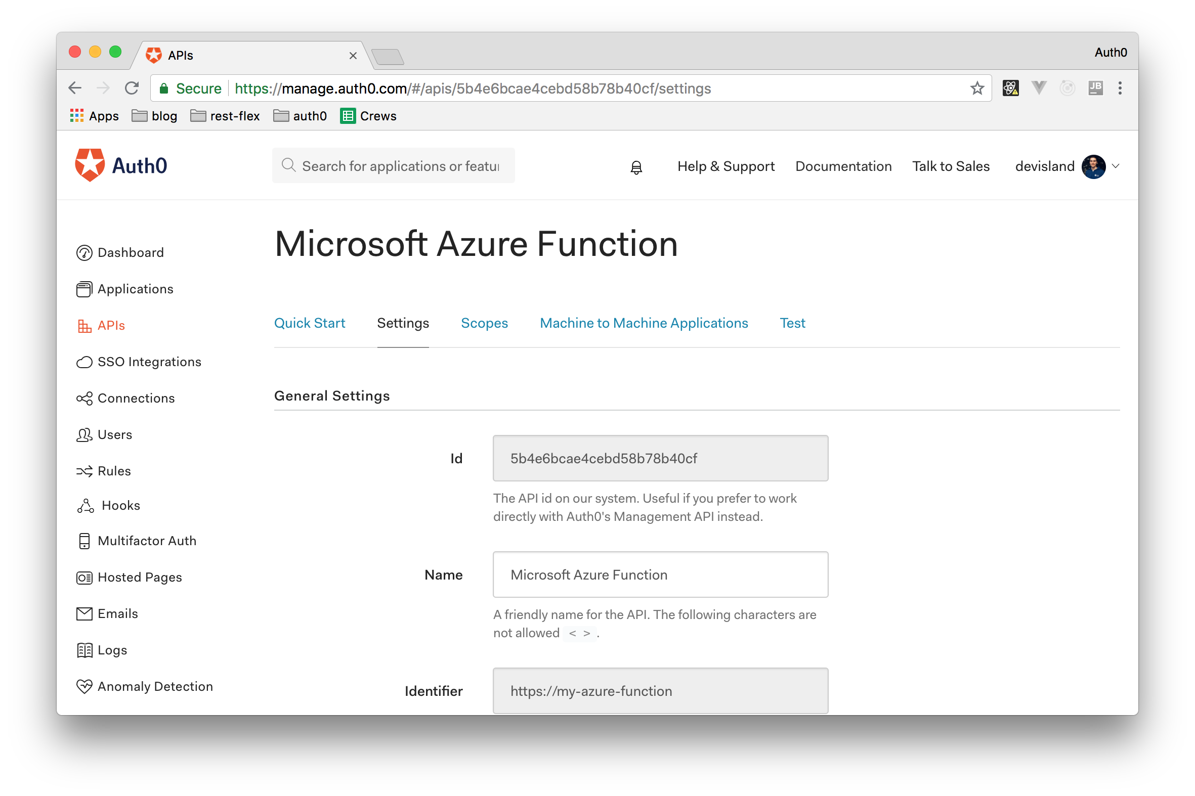 Creating an Auth0 API to represent the Azure Function