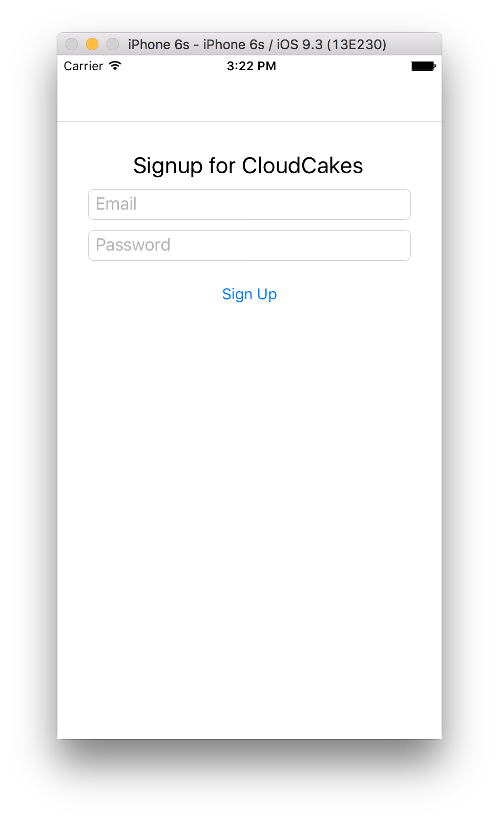 CloudCakes Signup Page