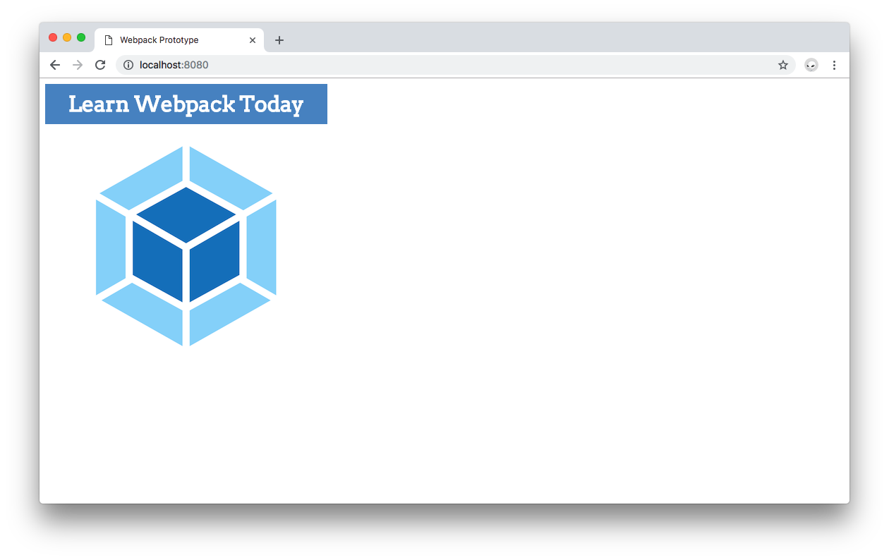 Webpack 4 prototyping - Learn webpack localhost page