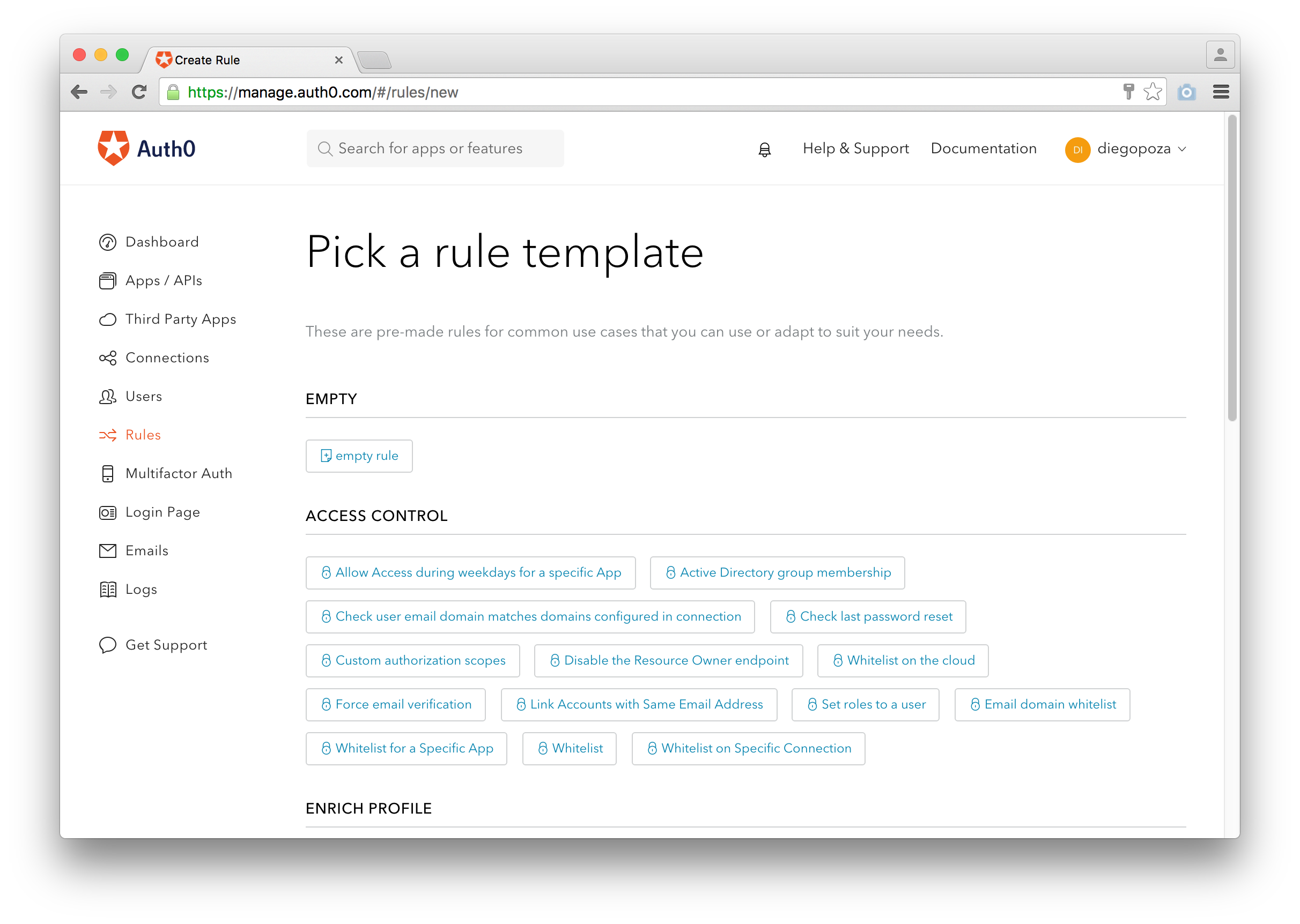 Creating a new rule using templates