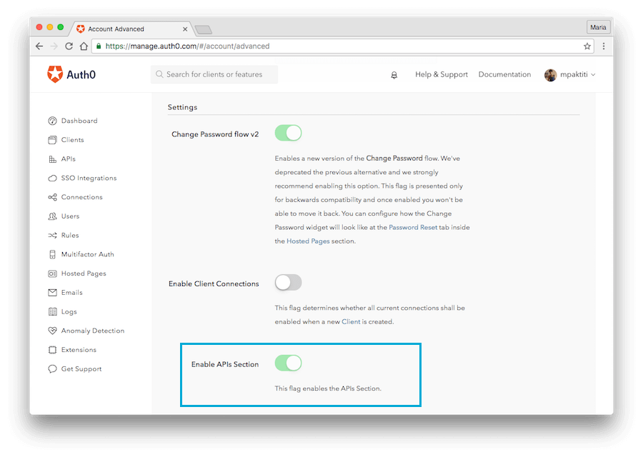 Enable APIs Section