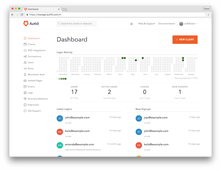 Auth0 Management Dashboard Landing Page