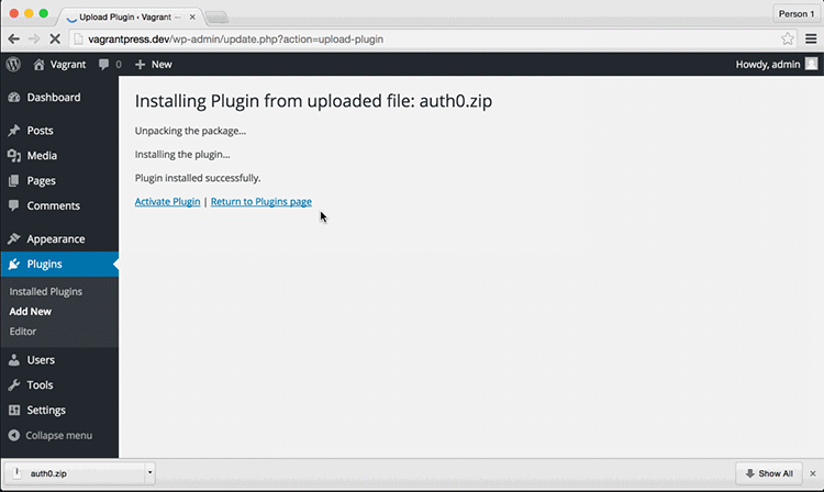 Activating an Installed Plugin