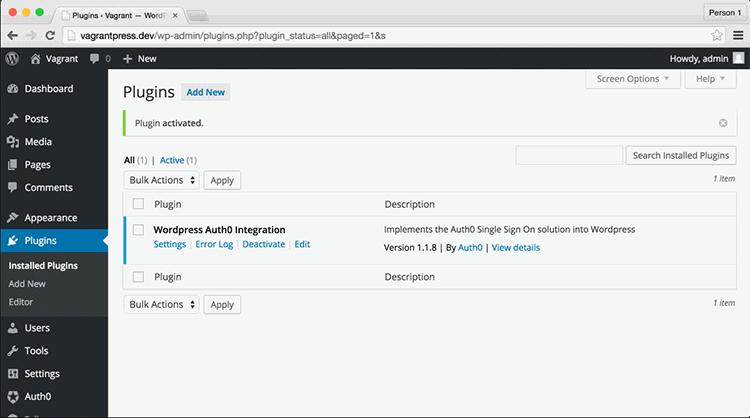 Installed Plugins List in the WordPress Dashboard