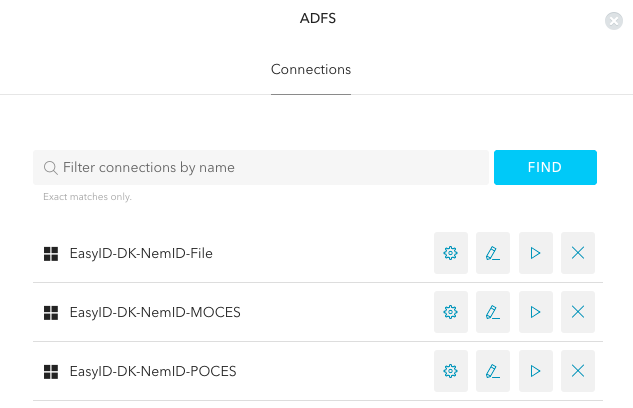 ADFS connections created