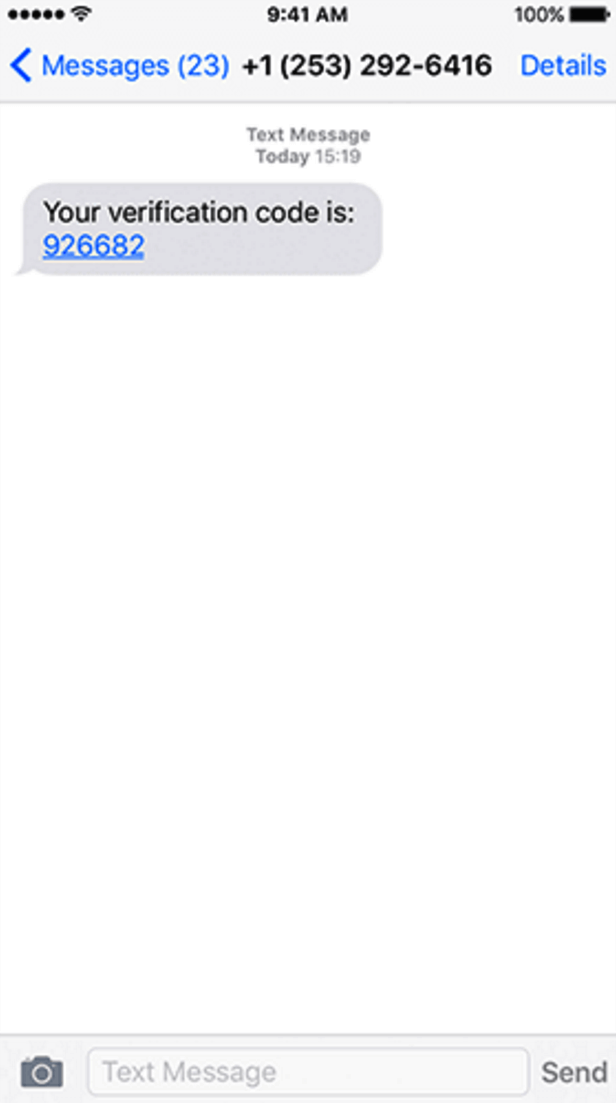 SMS one-time code