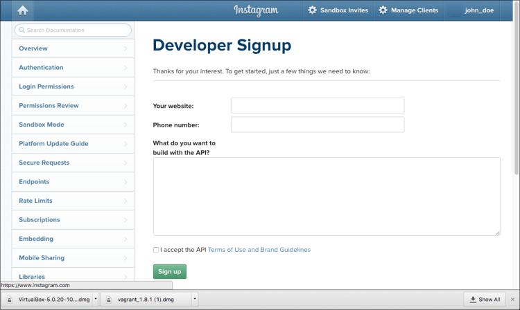 manage application instagram