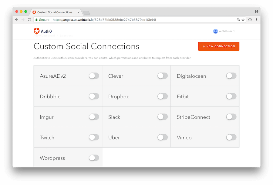 Authorize the Custom Social Connections app