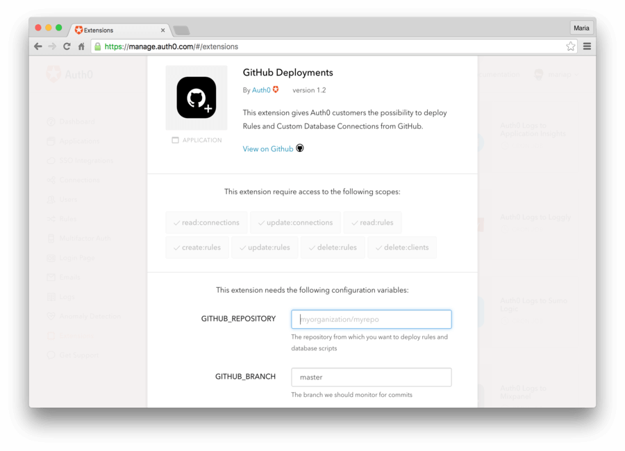 Install Github Deployments Extension