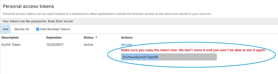 Copy access token
